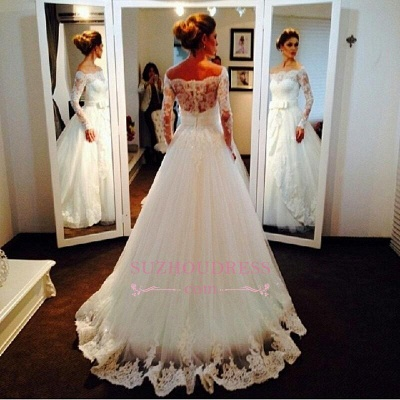 Bow Tulle Lace Off-the-shoulder Bridal Dresses  Long Sleeve Elegant Wedding Dress_3