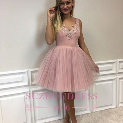Cute Pink Lace Appliques Cocktail Dress Tulle A-line Short Homecoming Dresses_5