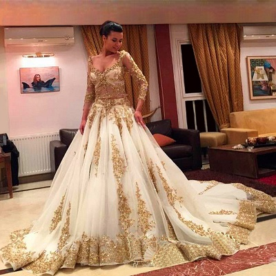 Custom Made Gold Lace Wedding Dress  Long Sleeve Luxurious Bridal Dress TB0326_3