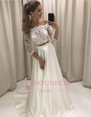 Off-the-shoulder Two-pieces White Lace Sweep-train Evening Dress_1