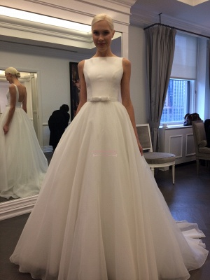 Elegant Jewel Backless Wedding Dress  A-line Sleeveless Bridal Gowns_1