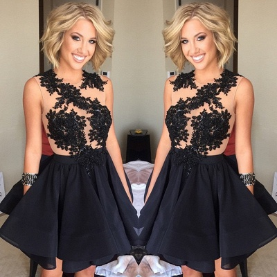 A-Line Black Mini  Homecoming Dresses Latest Sleeveless Short Cocktail Dress BA3594_3