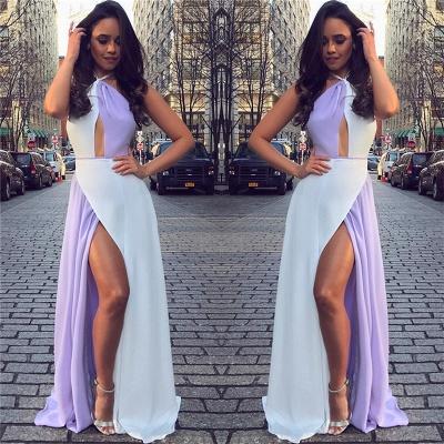 White and Lavender Sexy Split Evening Dresses  | Halter Sleeveless Chiffon  Formal Dress_4