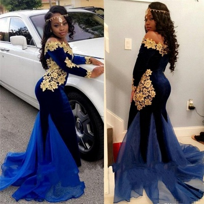 Off The Shoulder Gold Lace Prom Dress |  Royal Blue Velvet Sexy Evening Gown FB0321_3