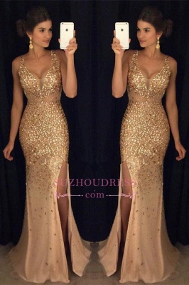 Gorgeous Mermaid Sleeveless Straps Front-Split Crystals Long Prom Dress GA091 SP0229_2