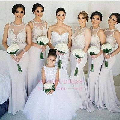 Sleeves Sheath Column Lace Sweep-train Scoop   Bridesmaid Dress_1