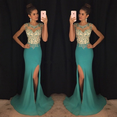 Green Mermaid Sexy Slit Prom Dress  Sleeveless Beads Sequins Popular Evening Gown with Crystals_3