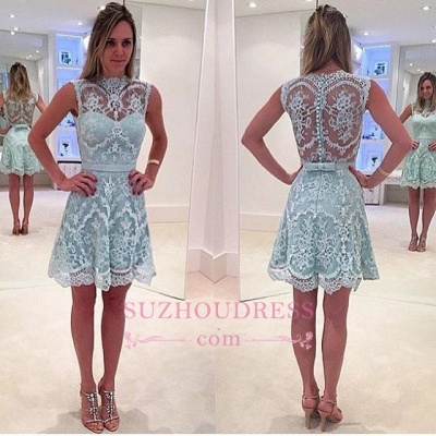 High Neck Sleeveless Mini Lace Homecoming Dresses  Unique Formal Dress_1