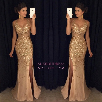 Gorgeous Mermaid Sleeveless Straps Front-Split Crystals Long Prom Dress GA091 SP0229_1