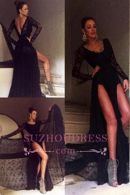 Black Long Sleeve Evening Gowns Sexy Front Slit Sexy Lace  Prom Dress_4