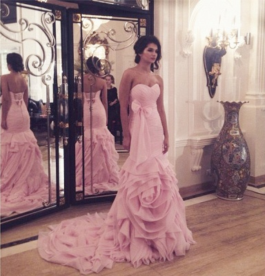 Sexy Mermaid Pink Long Wedding Dress Sweetheart Popular Plus Size Bridal Gowns with Bowknot_2