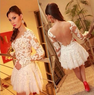 White Lace Long Sleeve Mini Homecoming Dress New Arrival Open Back Plus Size Cocktail Dress BO6414_2