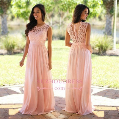 Chiffon Pink  Formal Dress Sleeveless Sheer Back Long Lace Evening Dress_1