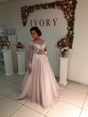 A-Line Long Sleeve Tulle Bridal Gowns Gorgeous Lace Applique Wedding Dresses_1