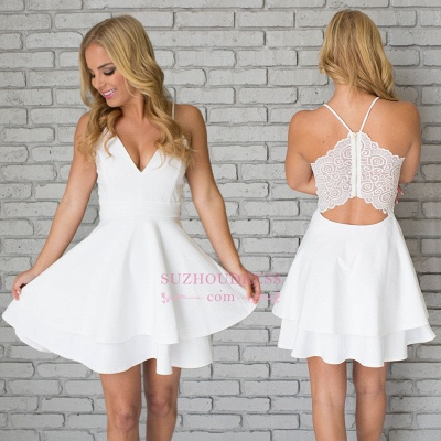 Cute Mini Spaghetti Strap Sleeveless White Lace Homecoming Dress  BA6828_1