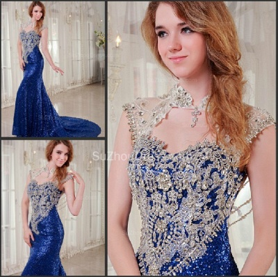Royal Blue Prom Dresses  Queen Anne Sequined Appliques Beading Court Train A Line Formal Evening Gowns_2