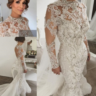 Alluring Beading Wedding Dresses With Buttons Mermaid Long-Sleeves Lace High Neck Crystal Bridal Gowns On Sale_4
