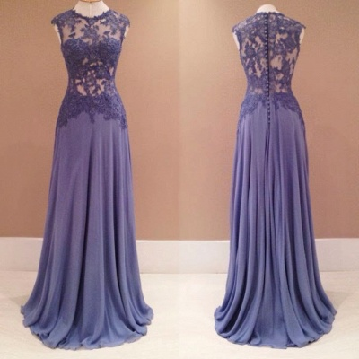See Through Sleeveless Evening Dress Long  Prom Dress with Lace Appliques_2