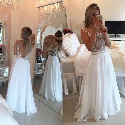 A-Line Chiffon White Long Prom Dress Latest Open Back Lace Formal Occasion Dresses BMT141_3