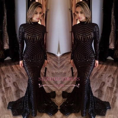 Sequined Mermaid Black Long Evenoing Dresses  Sleeves High Neck Sexy Prom Dress BA4035_1