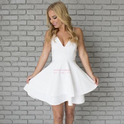 Cute Mini Spaghetti Strap Sleeveless White Lace Homecoming Dress  BA6828_6