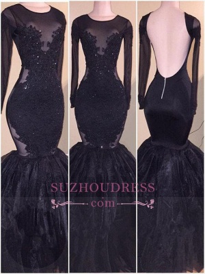 Tulle  Backless Appliques Elegant Long-Sleeves Mermaid Prom Dress_1