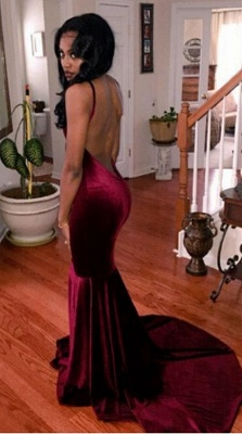 Burgundy Velvet Prom Dress Backless Deep V-neck Sheath Evening Gowns  CE0054_2