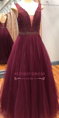 Luxury Sleeveless Beaded Pearls A-Line V-Neck Prom Dresses_1