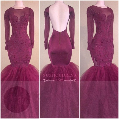 Tulle  Backless Appliques Elegant Long-Sleeves Mermaid Prom Dress_2