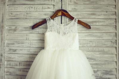 Lace Short Sleeve  Flower Girl Dress A-Line Tulle Sleeve Wedding Dress BO9154_2