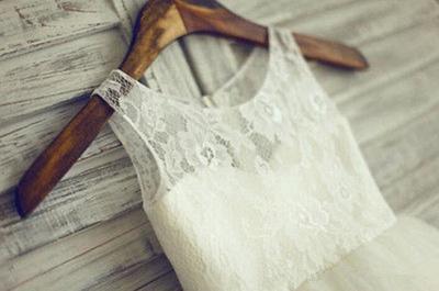 Lace Short Sleeve  Flower Girl Dress A-Line Tulle Sleeve Wedding Dress BO9154_3