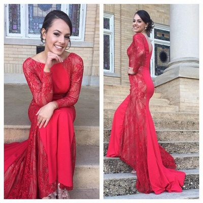 Red Lace Long Sleeve  Prom Dress Gorgeous Simple Sweep Train Evening Gown_1