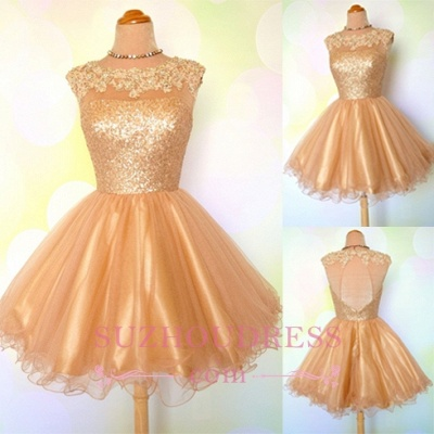 Puffy Shiny Gold Cocktail Dress Appliques Sequins Short Homecoming Dresses  BA8553_3