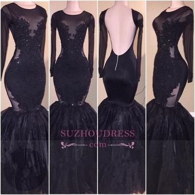 Tulle  Backless Appliques Elegant Long-Sleeves Mermaid Prom Dress_3