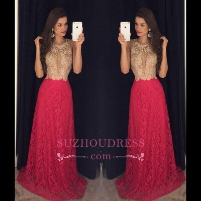 Long Jewel Sleeveless Hot Pink Evening Gown  Sweep-Train Newest Lace Prom Dress GA090_1