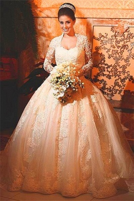 Princee Ball Gown Wedding Dress  Long Sleeve Lace Bridal Gowns_1