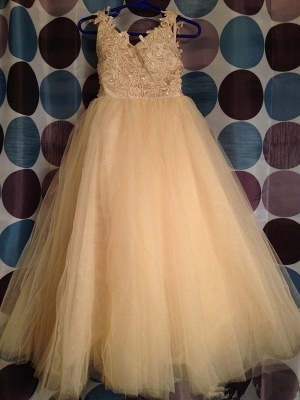 Cute Tulle Lace Applique  Flower Girl Dresses Backless Long Bowknot Children Gowns BO8533_4