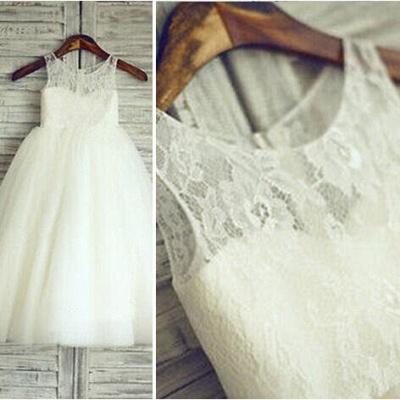 Lace Short Sleeve  Flower Girl Dress A-Line Tulle Sleeve Wedding Dress BO9154_4