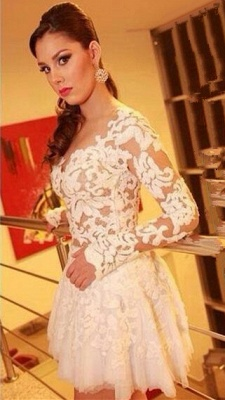 White Lace Long Sleeve Mini Homecoming Dress New Arrival Open Back Plus Size Cocktail Dress BO6414_1