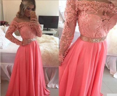 Cute Pink Long Sleeve Lace Beading Prom Dress  New Arrival Chiffon Long Dress for Women_2