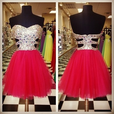 Cute Sweetheart Crystal Short Cocktail Dress A-Line Popular Tulle Mini Homecoming Dresses_2