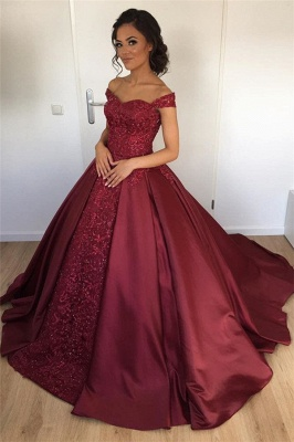 Off The Shoulder Burgundy Evening Gown  Beads Appliques Popular New Prom Dresses BA7251_1