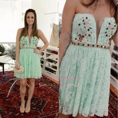 Sleeveless Mini Crystal Sweetheart Lace  Mint Homecoming Dresses_3