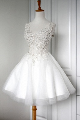 V-Neck Applique Beading Homecoming Dresses Tulle Tiered Mini  Cocktail Dresses_3