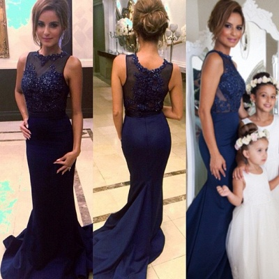 Memraid Navy Blue Party Dresses Beading  Prom Dress with Lace CE021_3