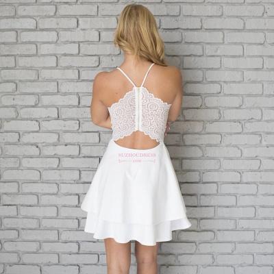 Cute Mini Spaghetti Strap Sleeveless White Lace Homecoming Dress  BA6828_4