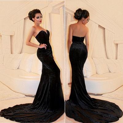 Sexy Black Velvet Prom Dress Sweetheart Mermaid Strapless Evening Dresses BA4542_3