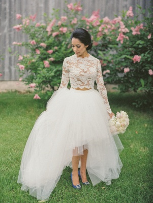 Vintage A-line Tulle Long Sleeve Bridal Gowns New Arrival Lace Sweep Train Wedding Dress_1