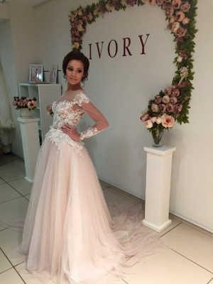 A-Line Long Sleeve Tulle Bridal Gowns Gorgeous Lace Applique Wedding Dresses_6