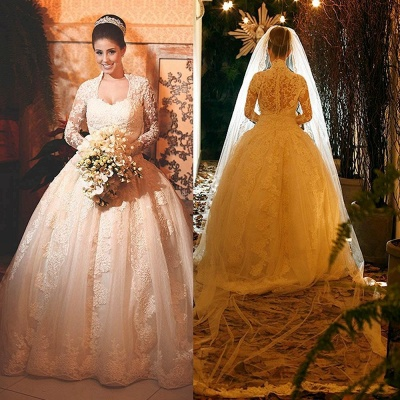 Princee Ball Gown Wedding Dress  Long Sleeve Lace Bridal Gowns_4